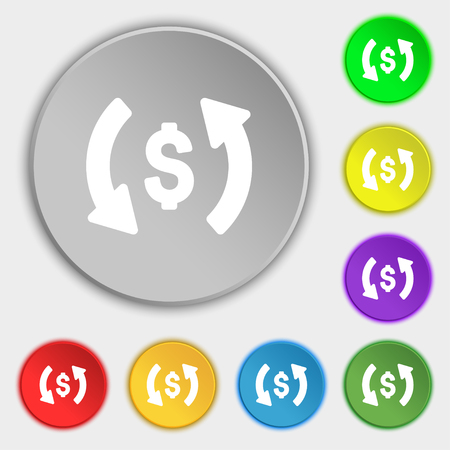 application recycle: Exchange icon sign. Symbol on eight flat buttons. Vector illustration