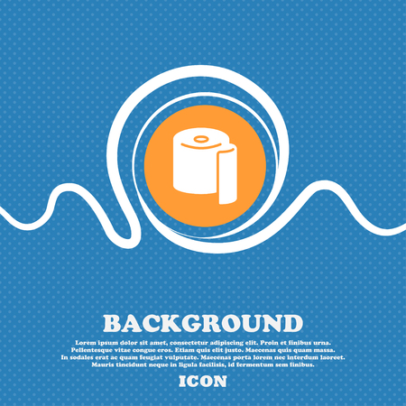 defecation: toilet paper icon sign. Blue and white abstract background flecked with space for text and your design. Vector illustration
