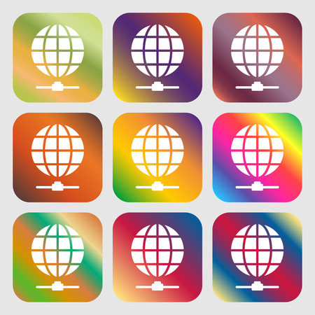webhosting: Website Icon sign. Nine buttons with bright gradients for beautiful design. Vector illustration