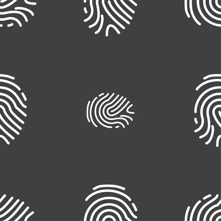 fingertip: Scanned finger Icon sign. Seamless pattern on a gray background. Vector illustration