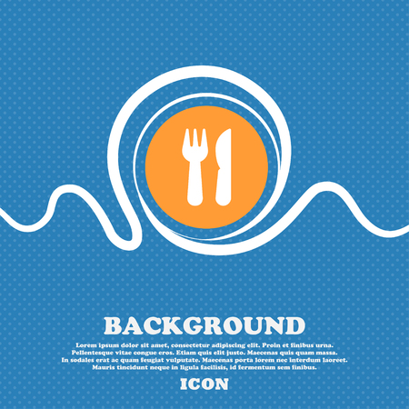 crossed fork over knife icon sign. Blue and white abstract background flecked with space for text and your design. Vector illustration
