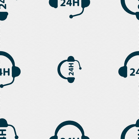 telemarketer: Support 24 hours icon sign. Seamless pattern with geometric texture. Vector illustration