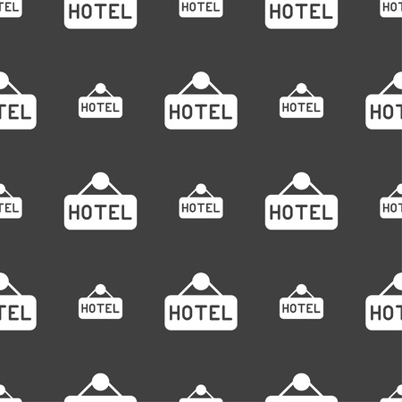 apartment bell: hotel icon sign. Seamless pattern on a gray background. Vector illustration