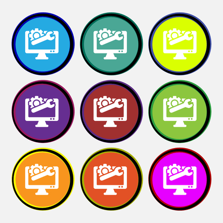 computer repair: repair computer icon sign. Nine multi colored round buttons. Vector illustration