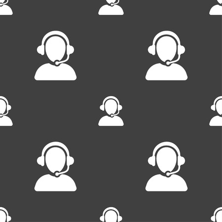 handsfree phones: Customer support icon sign. Seamless pattern on a gray background. Vector illustration Illustration