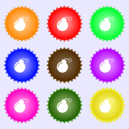 bomb icon sign. Big set of colorful, diverse, high-quality buttons. Vector illustration