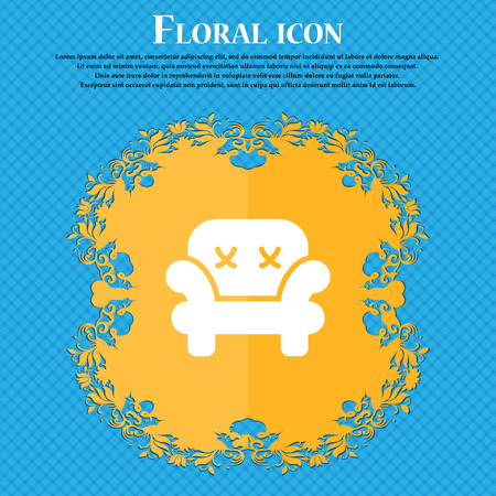Armchair icon sign. Floral flat design on a blue abstract background with place for your text. Vector illustration Illustration