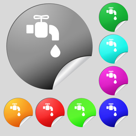 faucet icon sign. Set of eight multi colored round buttons, stickers. Vector illustration