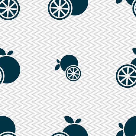 fruit stalk: orange icon sign. Seamless pattern with geometric texture. Vector illustration Illustration