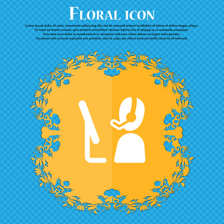 telemarketing: Telemarketing icon sign. Floral flat design on a blue abstract background with place for your text. Vector illustration Illustration