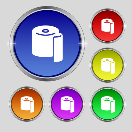 defecation: toilet paper icon sign. Round symbol on bright colourful buttons. Vector illustration
