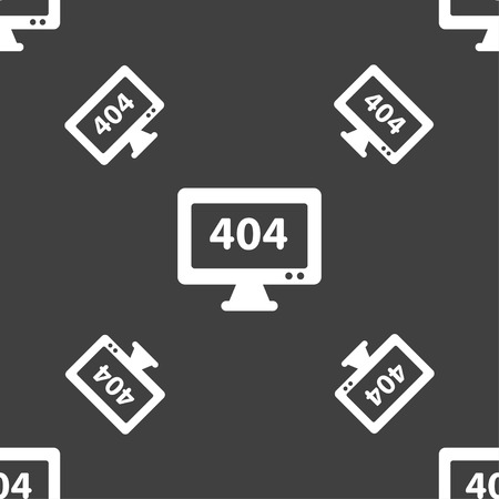 blunder: 404 not found error icon sign. Seamless pattern on a gray background. Vector illustration