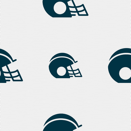 facemask: football helmet icon sign. Seamless pattern with geometric texture. Vector illustration