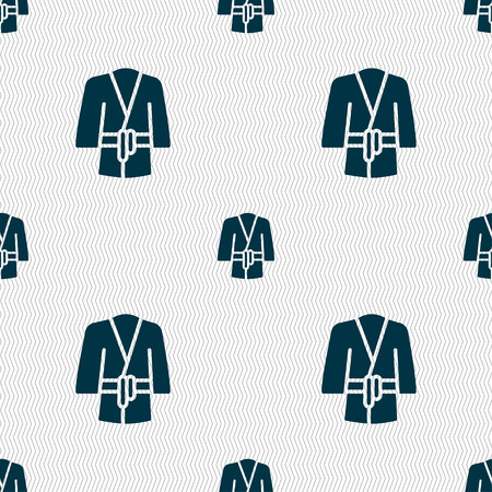 housecoat: Bathrobe icon sign. Seamless pattern with geometric texture. Vector illustration