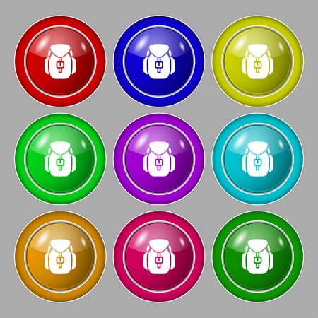 Backpack icon sign. symbol on nine round colourful buttons. Vector illustration