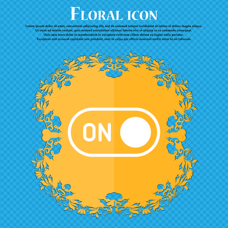 start icon sign. Floral flat design on a blue abstract background with place for your text. Vector illustration