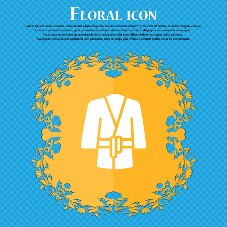 Bathrobe icon sign. Floral flat design on a blue abstract background with place for your text. Vector illustration