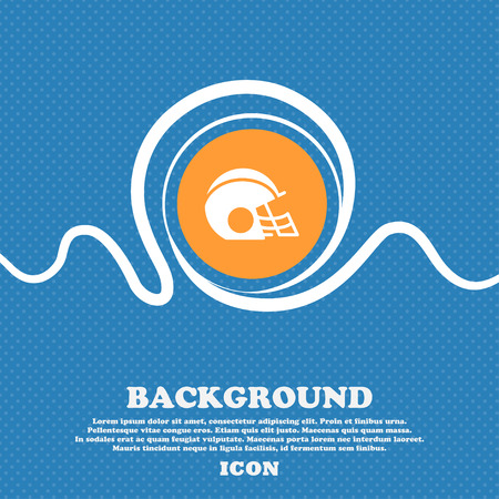 facemask: football helmet icon sign. Blue and white abstract background flecked with space for text and your design. Vector illustration Illustration