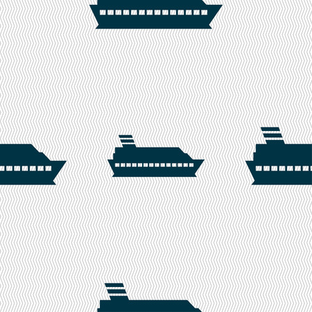 to pierce: Cruise sea ship icon sign. Seamless pattern with geometric texture. Vector illustration