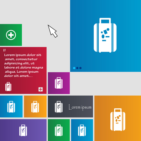 portmanteau: travel luggage suitcase icon sign. buttons. Modern interface website buttons with cursor pointer. Vector illustration Illustration