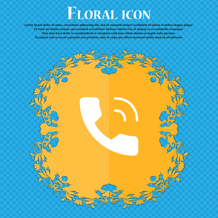 Phone icon sign. Floral flat design on a blue abstract background with place for your text. Vector illustration