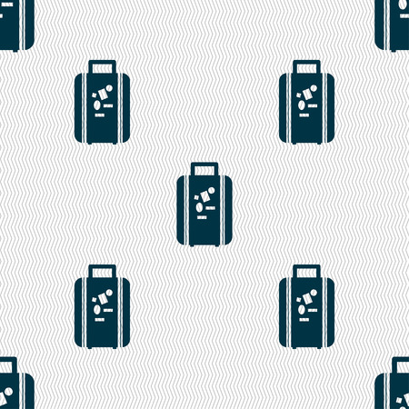 valise: travel luggage suitcase icon sign. Seamless pattern with geometric texture. Vector illustration