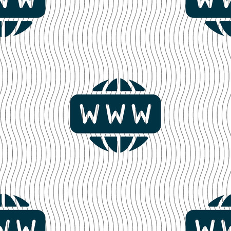 www icon: WWW icon sign. Seamless pattern with geometric texture. Vector illustration Illustration