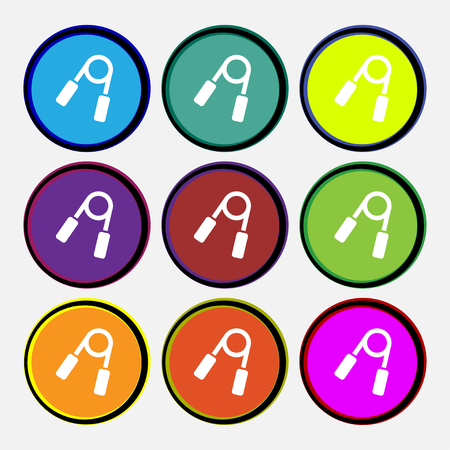 Hand grip trainer icon sign. Nine multi colored round buttons. Vector illustration Illustration