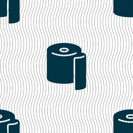 watercloset: toilet paper icon sign. Seamless pattern with geometric texture. Vector illustration