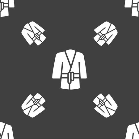 housecoat: Bathrobe icon sign. Seamless pattern on a gray background. Vector illustration