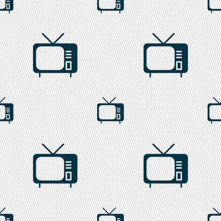 hd: tv icon sign. Seamless pattern with geometric texture. Vector illustration
