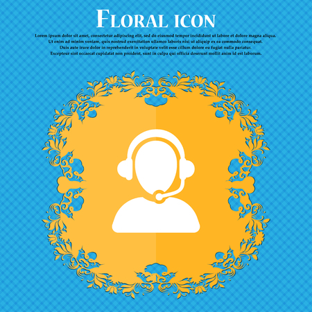 handsfree telephone: Customer support icon sign. Floral flat design on a blue abstract background with place for your text. Vector illustration Illustration