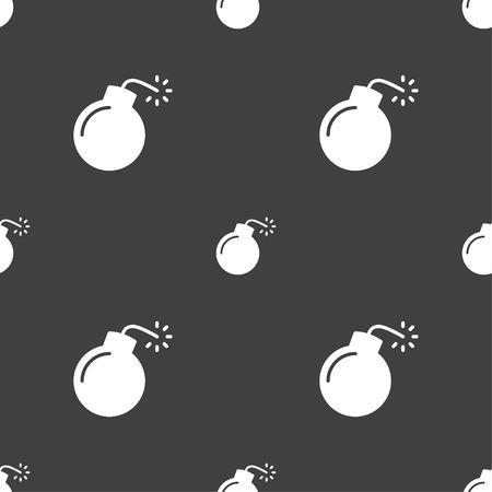 bombshell: bomb icon sign. Seamless pattern on a gray background. Vector illustration Illustration