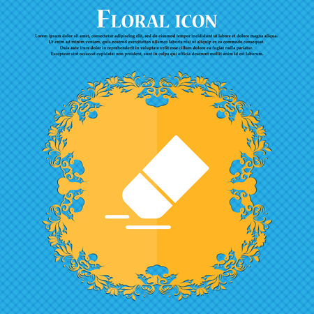 Eraser, rubber icon sign. Floral flat design on a blue abstract background with place for your text. Vector illustration