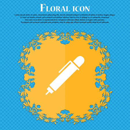 pen icon sign. Floral flat design on a blue abstract background with place for your text. Vector illustration
