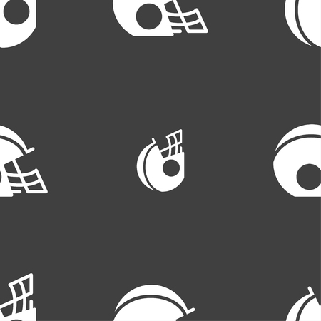 facemask: football helmet icon sign. Seamless pattern on a gray background. Vector illustration