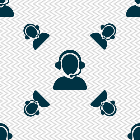 telemarketer: Customer support icon sign. Seamless pattern with geometric texture. Vector illustration