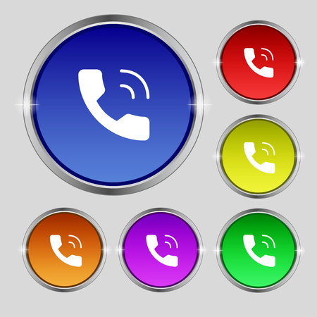 Phone icon sign. Round symbol on bright colourful buttons. Vector illustration Illustration