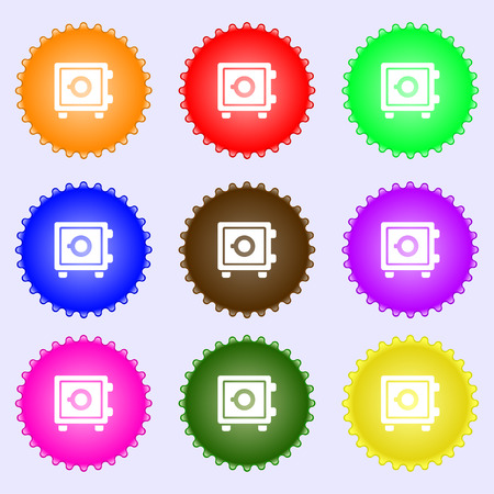 Safe icon sign. Big set of colorful, diverse, high-quality buttons. Vector illustration Illustration