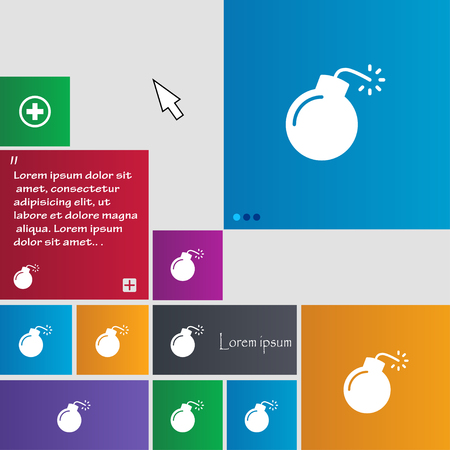 bomb icon sign. buttons. Modern interface website buttons with cursor pointer. Vector illustration