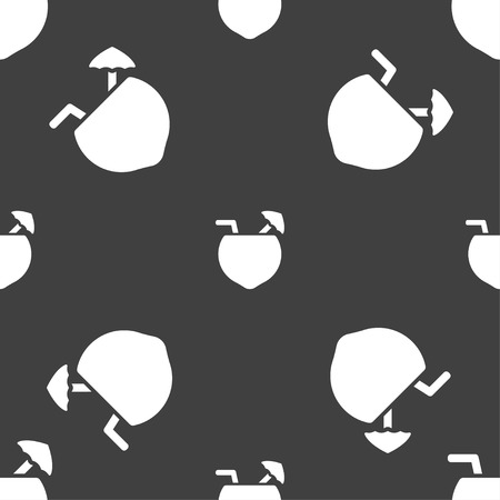 tubule: Coconut Cocktail icon sign. Seamless pattern on a gray background. Vector illustration