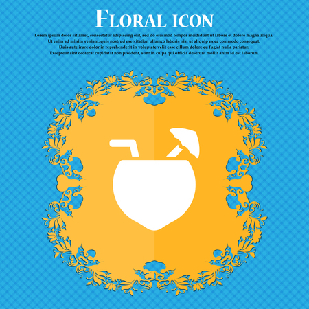tubule: Coconut Cocktail icon sign. Floral flat design on a blue abstract background with place for your text. Vector illustration