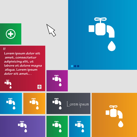 spigot: faucet icon sign. buttons. Modern interface website buttons with cursor pointer. Vector illustration