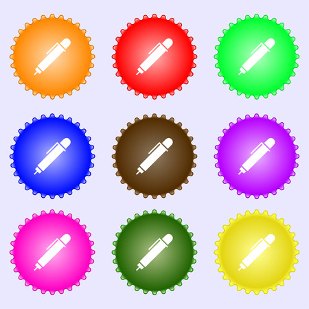 writing instruments: pen icon sign. Big set of colorful, diverse, high-quality buttons. Vector illustration