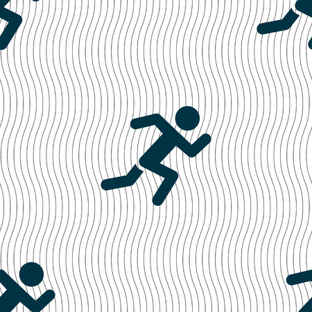 forbid: simple running human icon sign. Seamless pattern with geometric texture. Vector illustration Illustration
