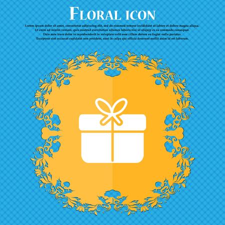 Gift box icon sign. Floral flat design on a blue abstract background with place for your text. Vector illustration