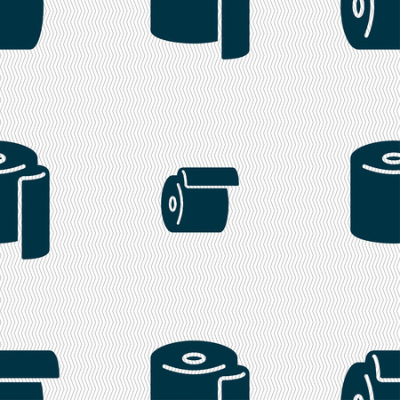 defecation: toilet paper icon sign. Seamless pattern with geometric texture. Vector illustration