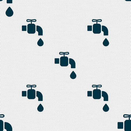 ooze: faucet icon sign. Seamless pattern with geometric texture. Vector illustration