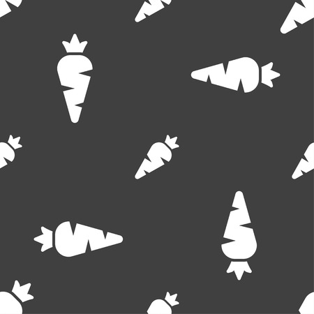 delectable: Carrot Vegetable icon sign. Seamless pattern on a gray background. Vector illustration Illustration