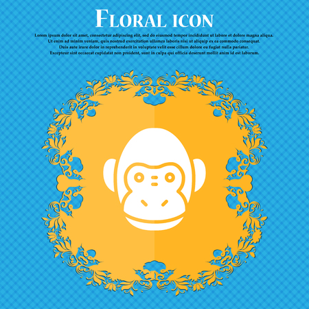 Monkey icon sign. Floral flat design on a blue abstract background with place for your text. Vector illustration Illustration